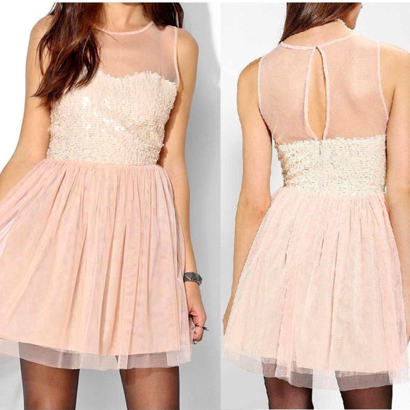 c07c0a79 Urban Outfitters Dresses | New Pins And Needles Mesh Sequin Fit ...